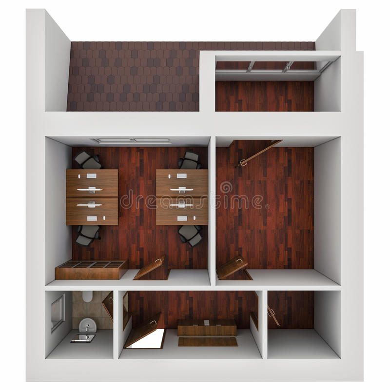 3D illustration of the plan of office. 3D render of the plan of office vector illustration