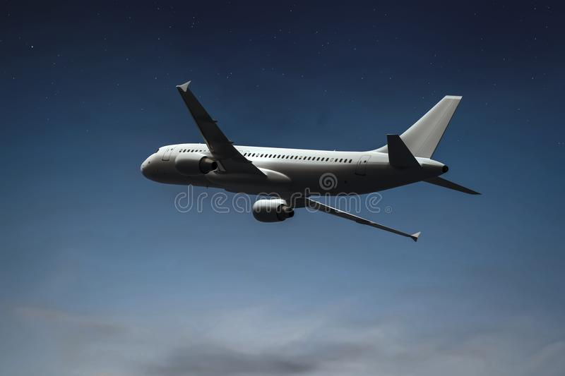 an airplane in the night sky stock illustration