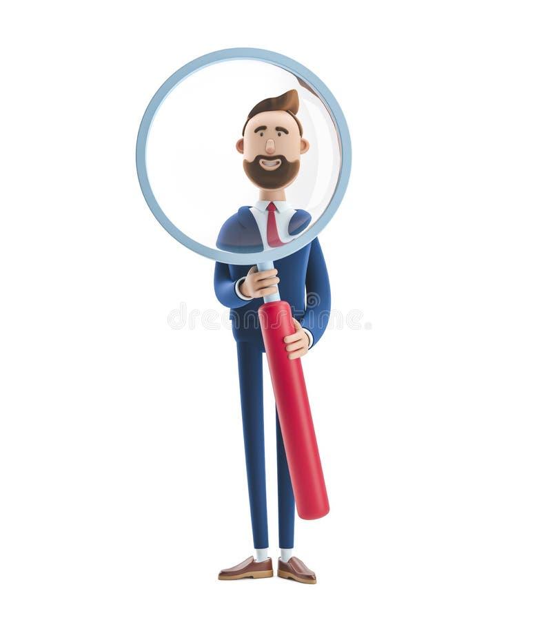 3d illustration. Portrait of a handsome businessman with magnifier. royalty free illustration