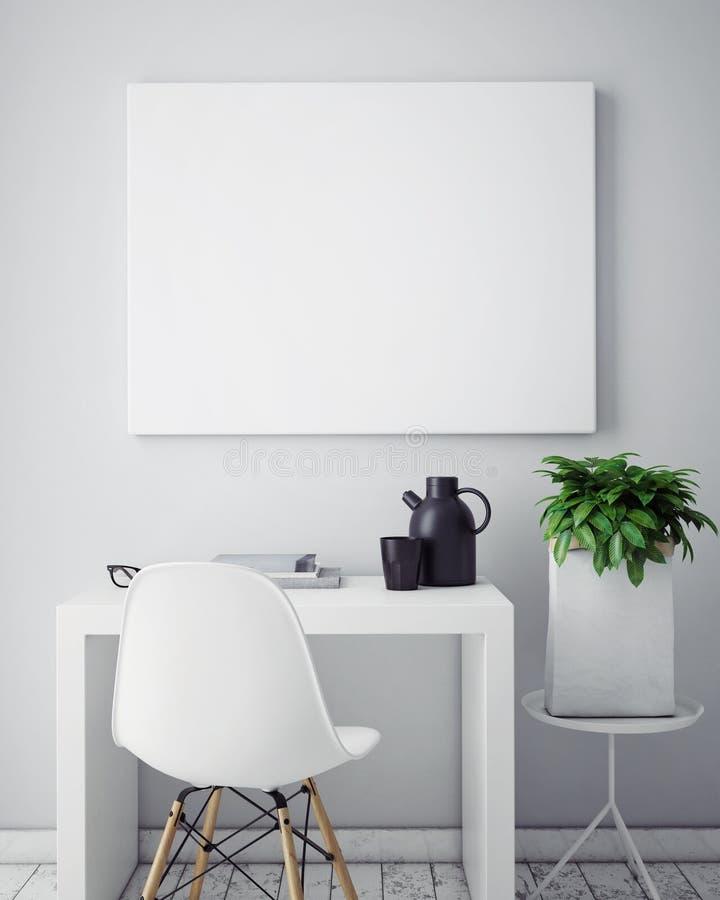 3D illustration of poster frame template, workspace mock up,. 3D illustration of poster frame template