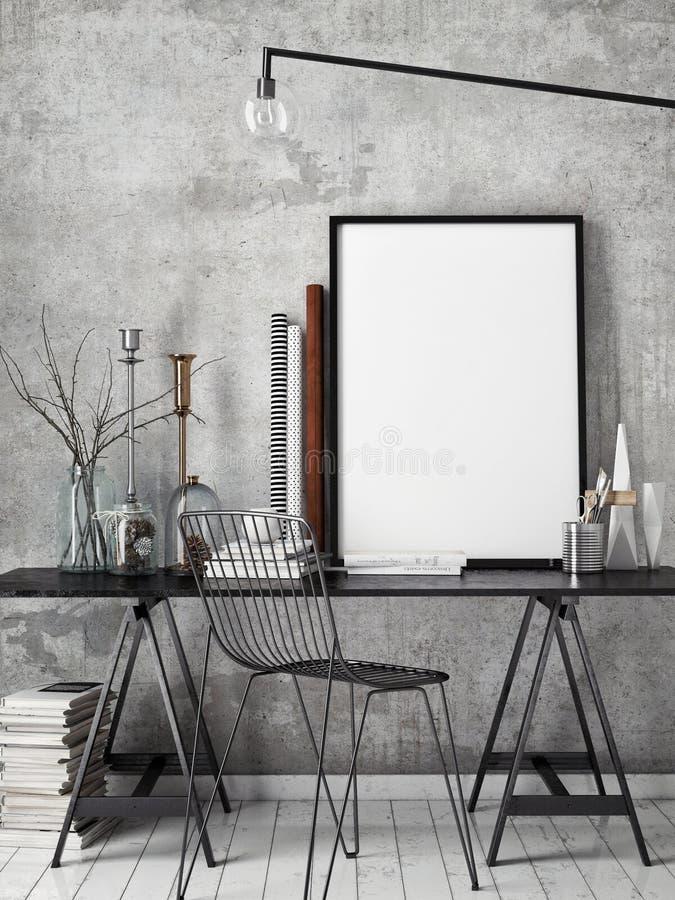 3D illustration of poster frame template, workspace mock up,. Background