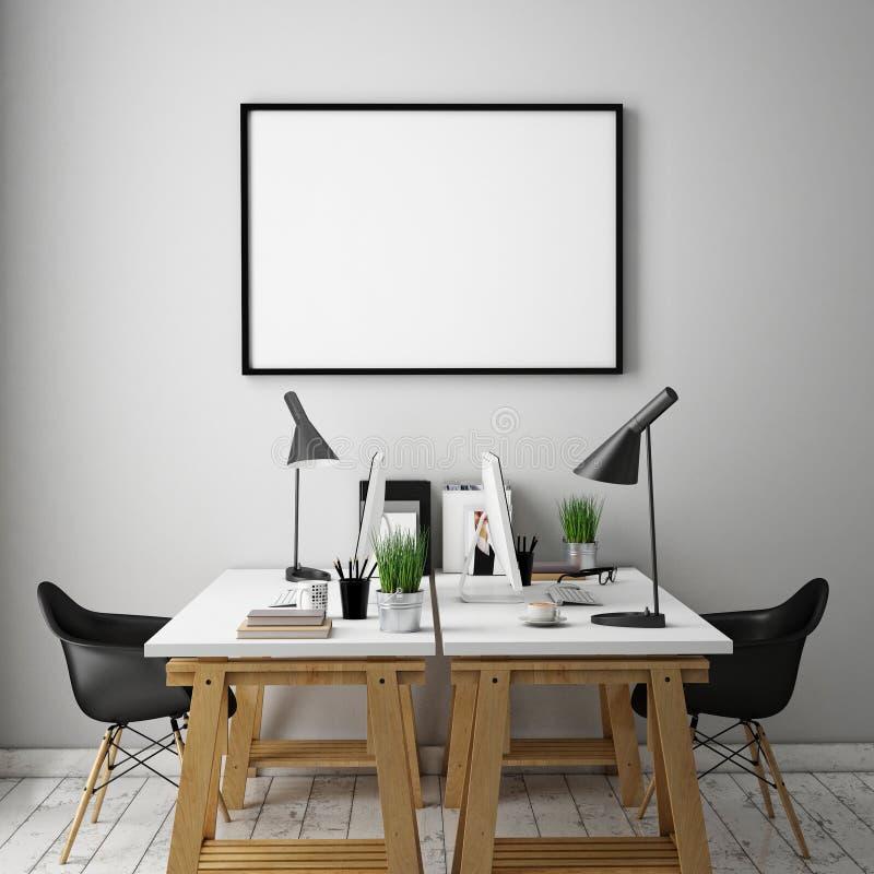 3D illustration of poster frames template, workspace mock up,. Background