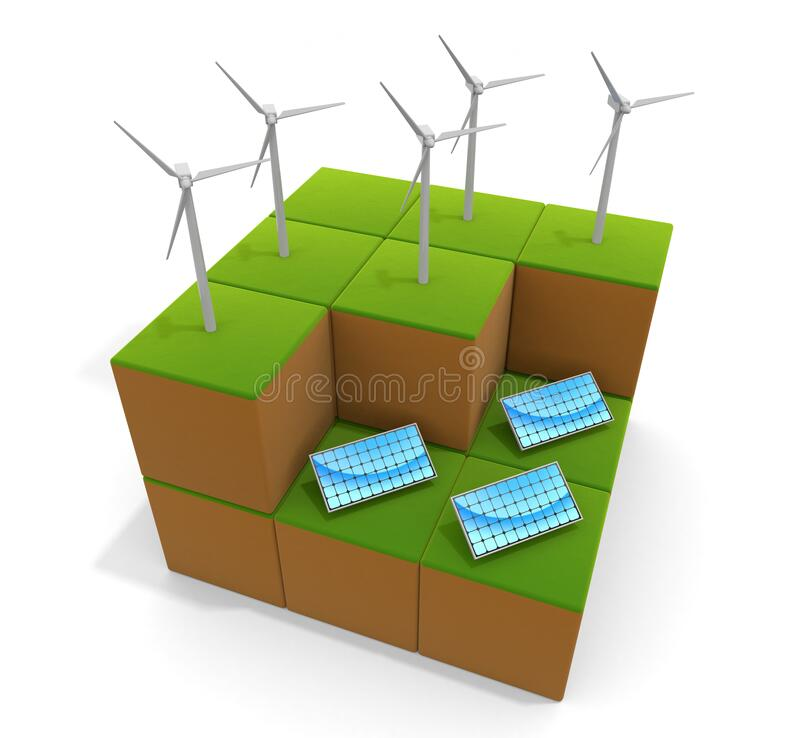 3D illustration. Power is generated by wind power. Solar energy. Image of natural environment. stock illustration