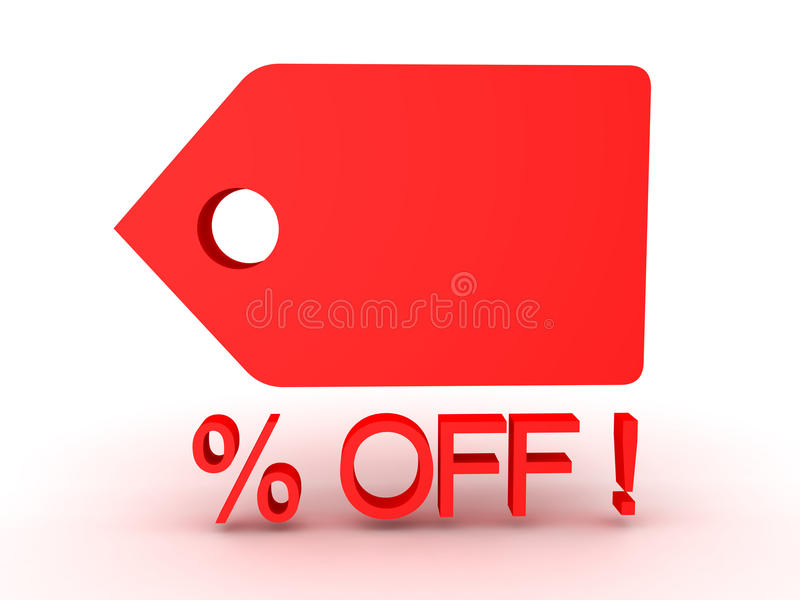 3D illustration of price tag showing price cut or sale promotion. Image can be used by supermarkets stock illustration