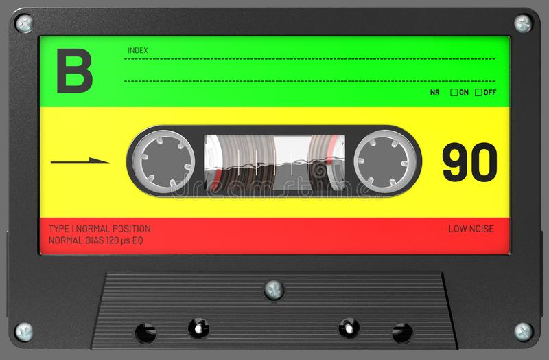 Rastafarian colored audio cassette with sticker and label. 3d illustration of an rastafarian colored audio cassette with sticker and label stock images