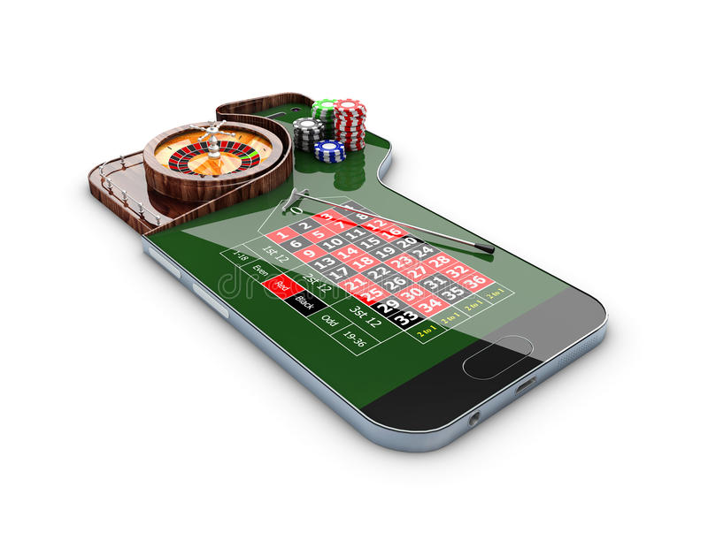 3d Illustration of realistic casino roulette table, on the phone screen, casino online concept royalty free illustration