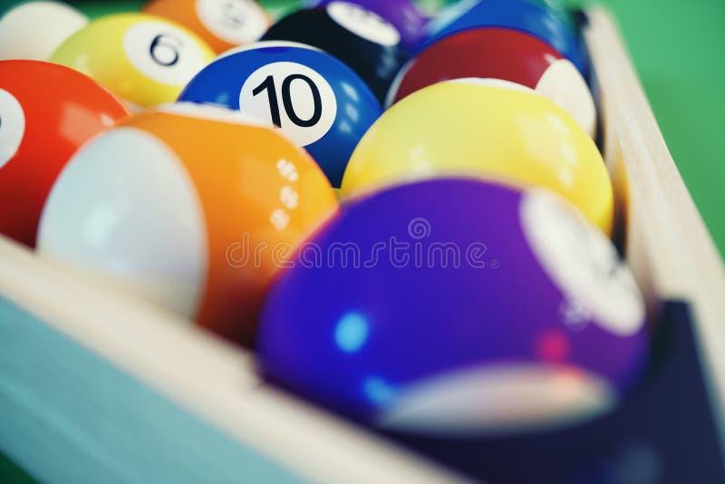 3D illustration recreation sport. Billiards balls with on green billiards table. Billiard sport concept. Pool billiard. Game stock illustration