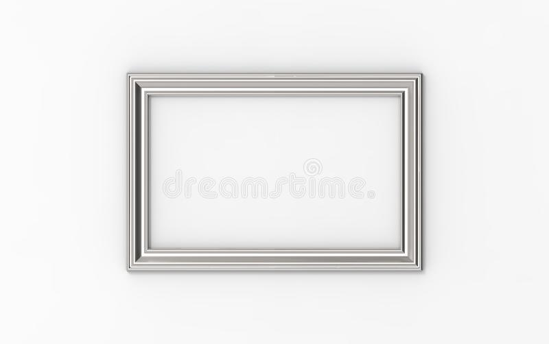 3d illustration of a rectangular picture frame on white background stock photography