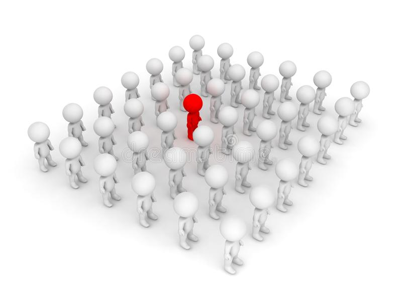 3D illustration of red character standing out of the crowd. Isolated on white stock illustration