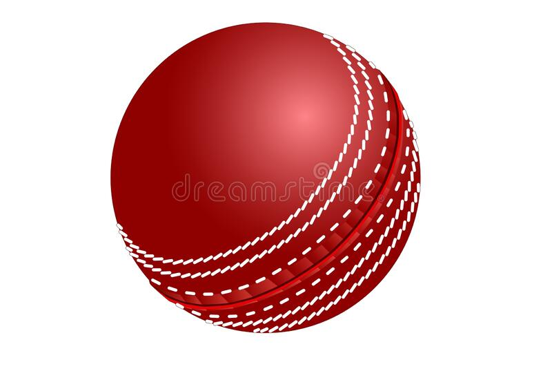 3d illustration of red cricket ball isolated on white background. royalty free stock photo