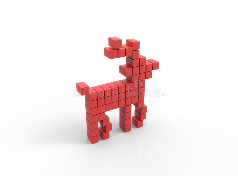 Download 3D Illustration Of Red Deer Icon Made From Cubes Stock Illustration - Image: 83702634