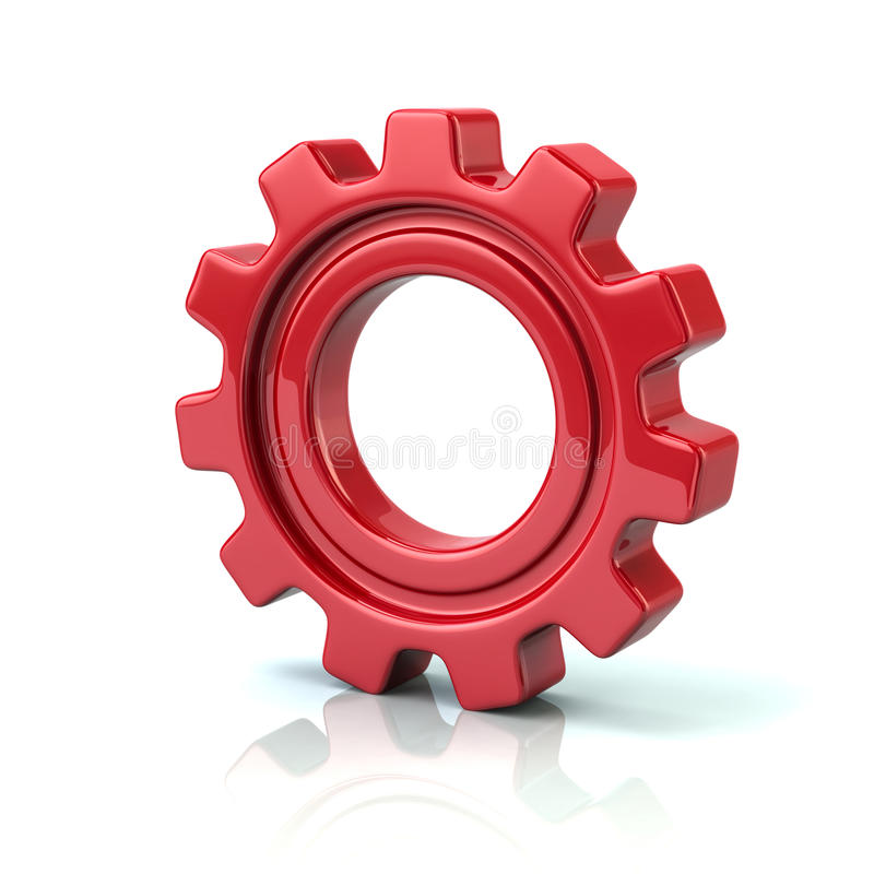 3d Illustration Of Red Gear Wheel Stock Illustration Illustration