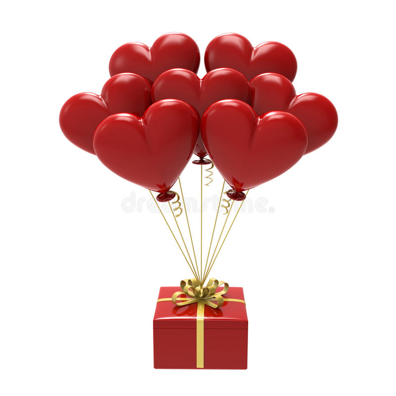 3D illustration red gift and hearts air balloons. On a white background royalty free illustration