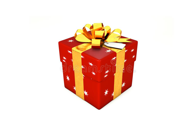 3d illustration: Red-scarlet gift box with star, golden metal ribbon / bow and tag on a white background isolated. stock illustration