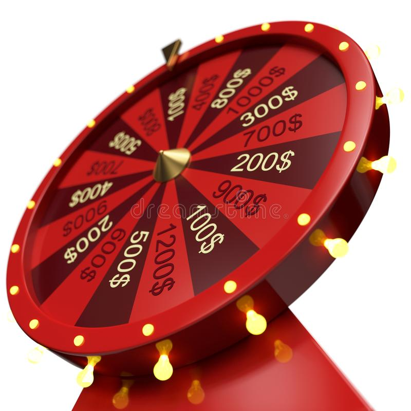 3d illustration red wheel of luck or fortune. Realistic spinning fortune wheel. Wheel fortune isolated on white royalty free stock images