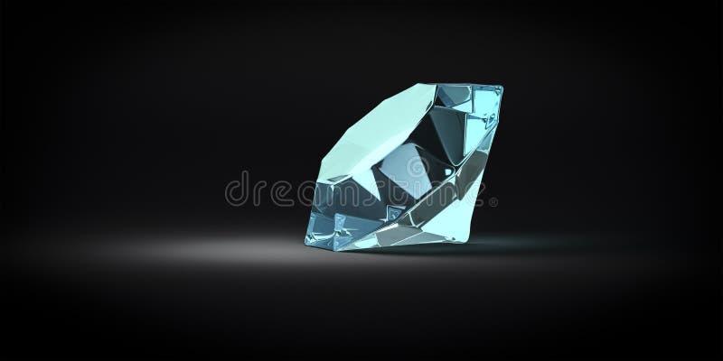 Blue gem stone. 3d illustration of a reflective blue gem stone stock illustration