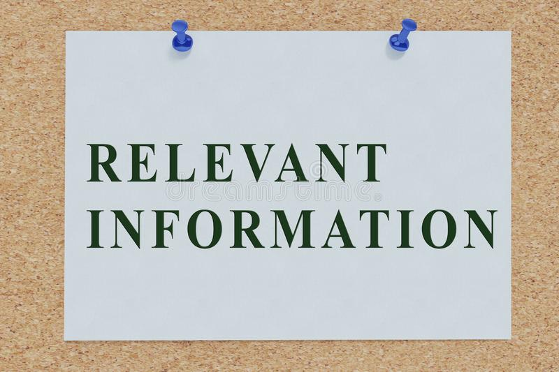 RELEVANT INFORMATION concept. 3D illustration of RELEVANT INFORMATION on cork board, analysis, application, around, business, city, commercial, communication vector illustration