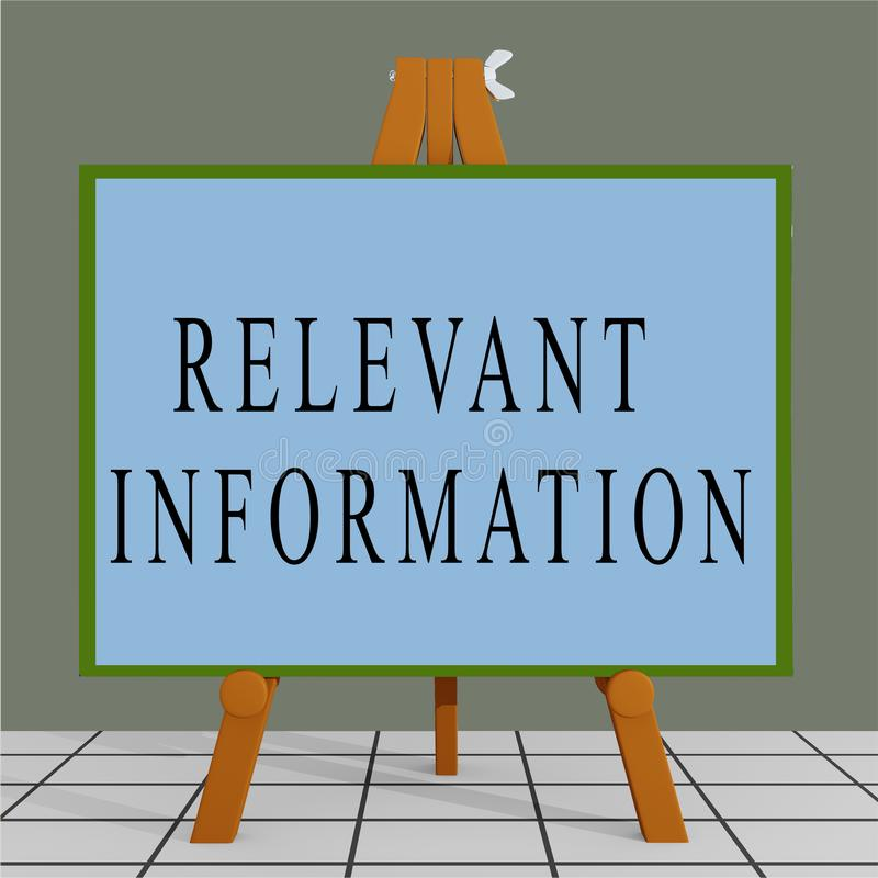 RELEVANT INFORMATION concept. 3D illustration of RELEVANT INFORMATION title on a tripod display board, analysis, application, around, business, city, commercial royalty free illustration