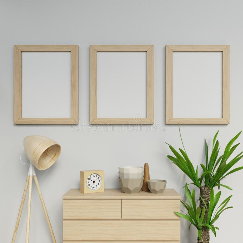 3d illustration render of scandinavian house interior three a2 size poster ready to use mock up with wooden frame hanging vertical stock illustration