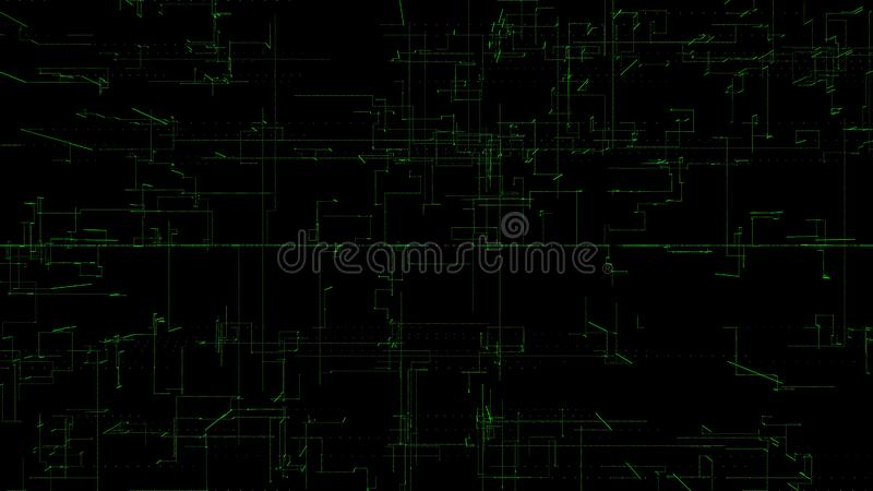 3D illustration, 3D rendering, abstract geometric background, green line technology, architectural design chart, Big Data. Connection vector illustration