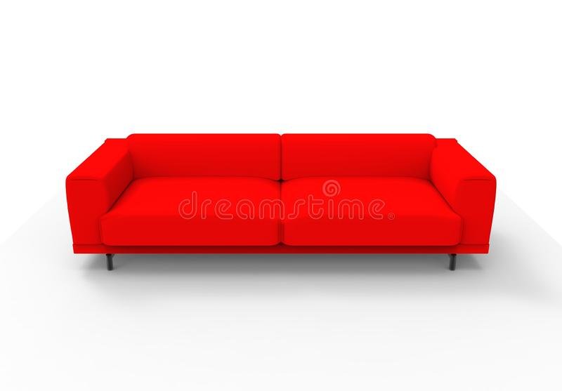 Red couch / sofa isolated stock illustration