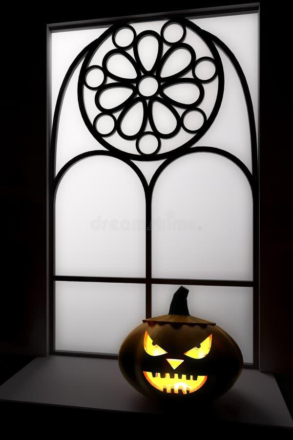 3D illustration, 3D rendering, Halloween Pumpkin Jack Head Lamp at the window vector illustration
