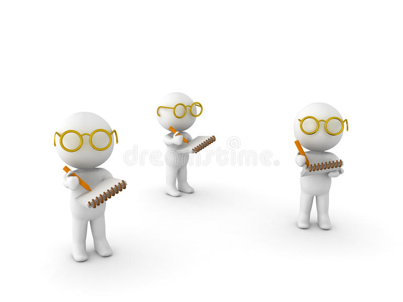 3D Illustration of researchers taking notes. On white stock illustration