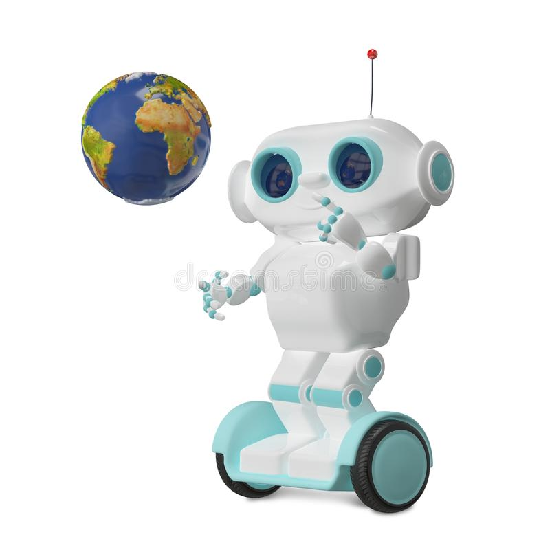 3D Illustration Robot with Globe on Scooter royalty free illustration