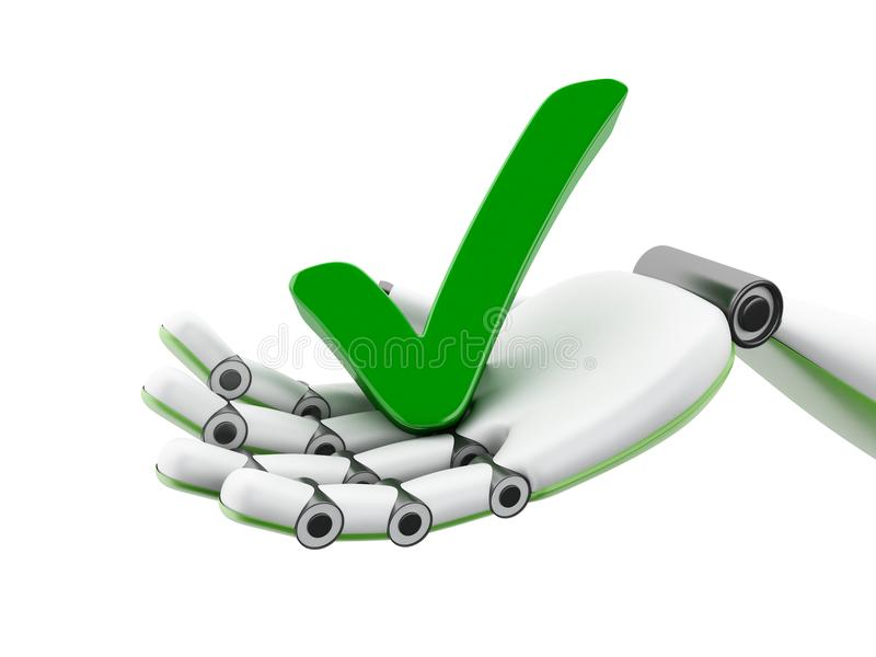 3d illustration. Robotic hand holding green check mark icon vector illustration