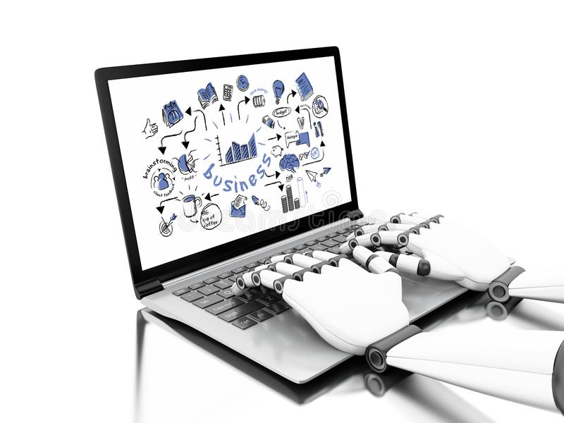 3d illustration. Robotic hands typing on a laptop vector illustration
