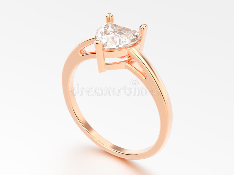 3D illustration rose gold engagement ring with diamond heart wit vector illustration