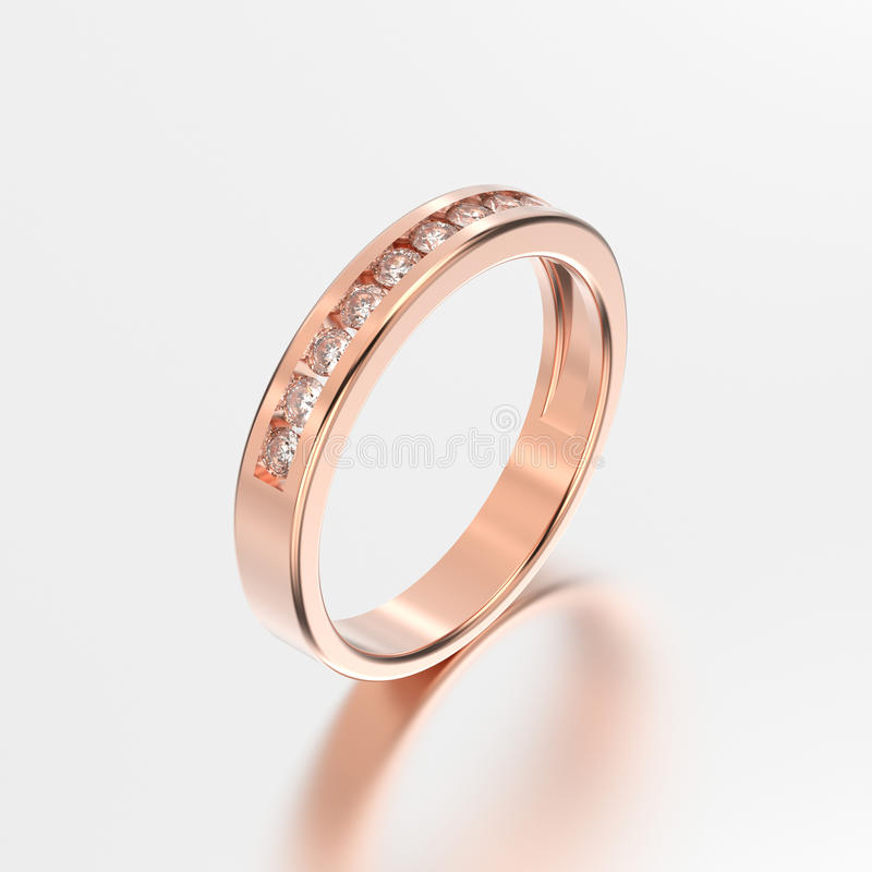3D Illustration Rose Gold Ring With Diamonds With Reflection Stock