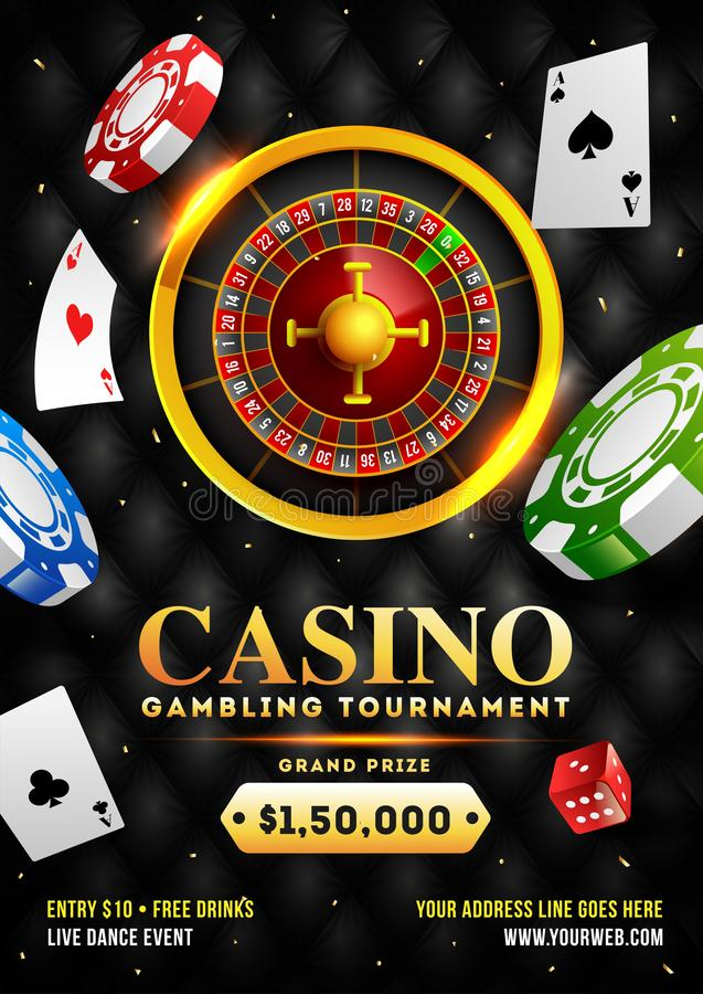 3D illustration of roulette wheel with casino chips and playing cards for Casino Gambling tournament. stock illustration