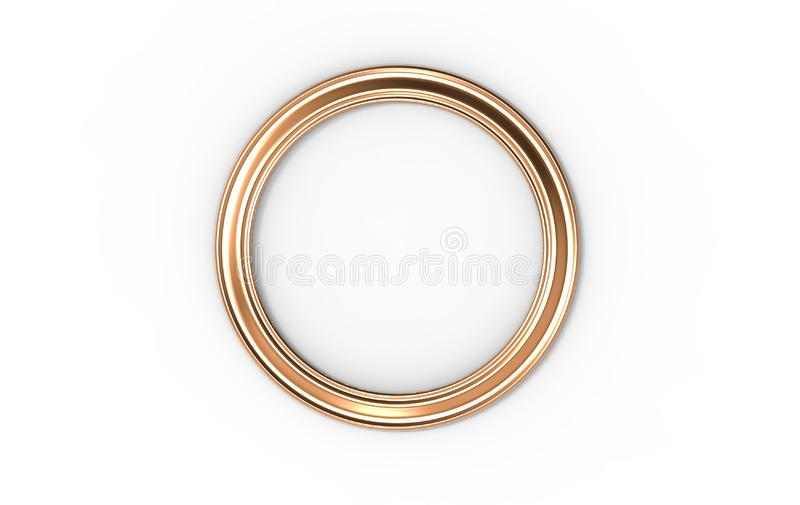 3d illustration of a round picture frame on white background stock photos