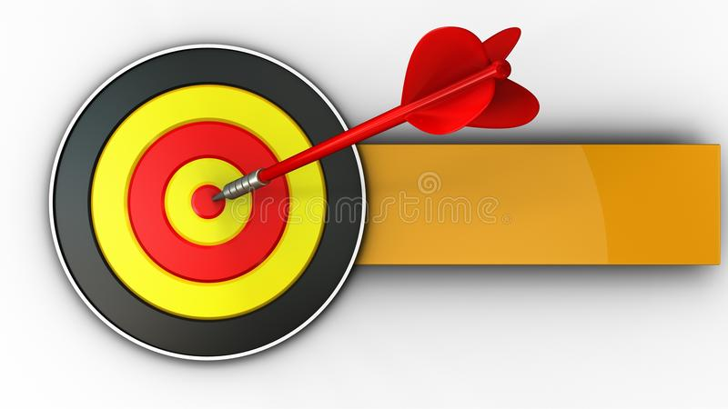 3d round target with red dart vector illustration