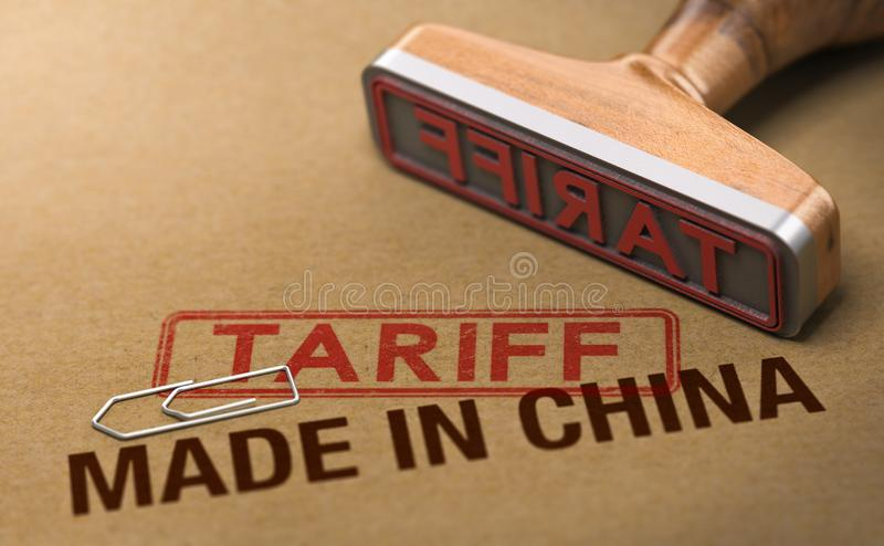 Trade War, Tariff For Goods and Products Made in China. 3d illustration of a rubber stamp over cardboard background with the words made in China and tariff stock illustration