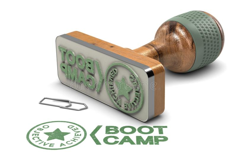 Boot Camp Concept. Objective Achieved Certificate over White Background. 3D illustration of rubber stamp over white background with the text Boot Camp and vector illustration