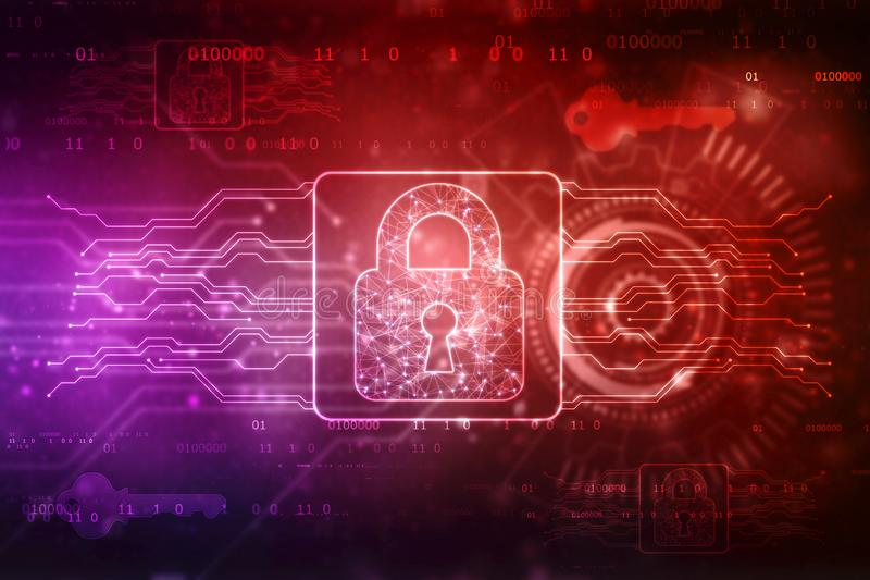 2d illustration Digital security concept, Lock on digital technology background stock illustration