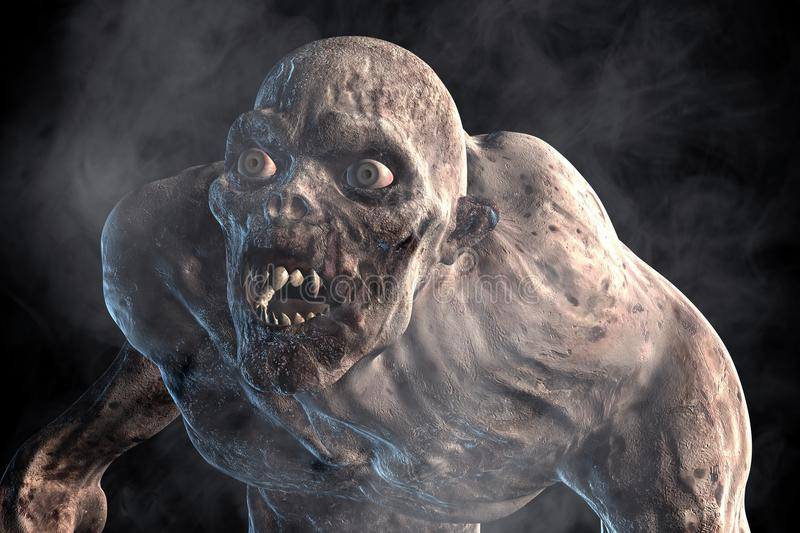 Scary Monster Come Out From The Dark. 3d illustration of Scary monster out from the dark,Hard light style vector illustration