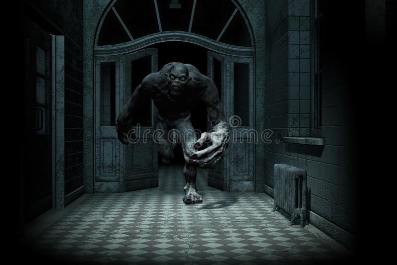 Scary Monster Come Out From The Dark. 3d illustration of Scary monster out from the dark,Hard light style stock illustration