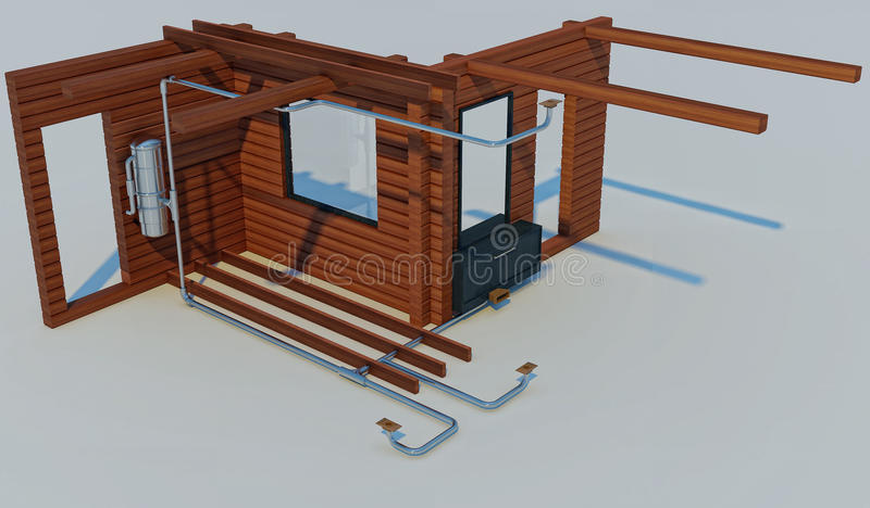3D illustration of the scheme of the device of the built-in vacuum cleaner. 3D render of the scheme of the device of the built-in vacuum cleaner royalty free illustration
