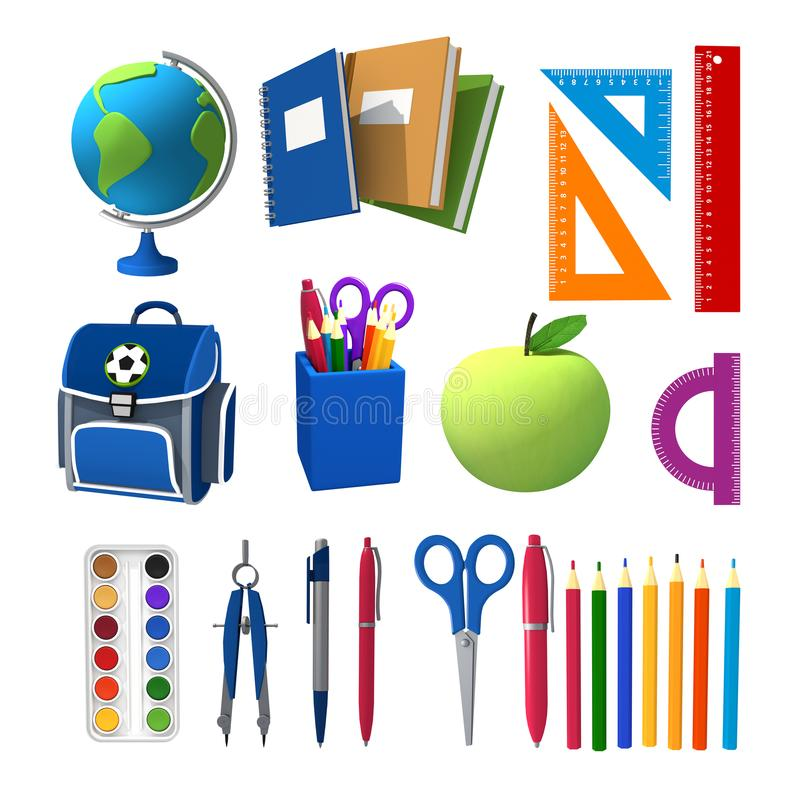 3d illustration of school objects. Globe, notebooks, rulers, knapsack pens, paints. Isolated royalty free illustration