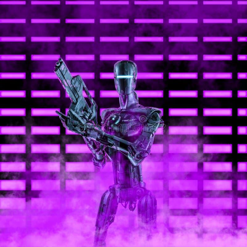 The neon robot trooper vector illustration