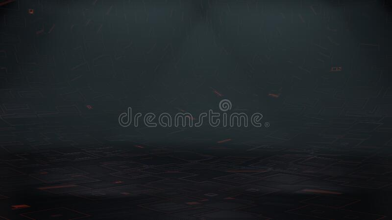 3d Illustration of Scifi Space Ship Background with over head lights and haze. Spooky space background stock illustration