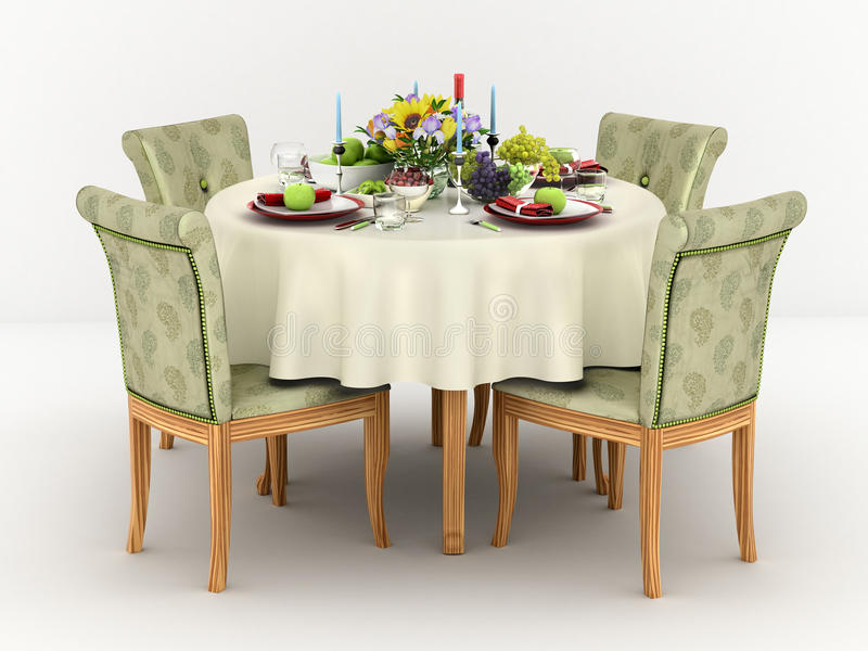 3d illustration of Serving a round dining table vector illustration