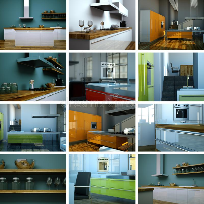 Traditional White Kitchen Design 3d Rendering: Set Of Kitchens Furnished With Modern Furniture, Household