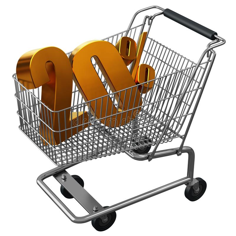 3D illustration of Shopping cart with 20 pocent discount in gold isolated royalty free illustration