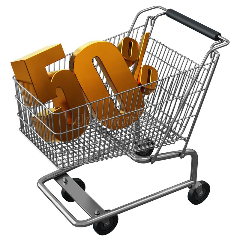 3D illustration of Shopping cart with 50 pocent discount in gold isolated vector illustration