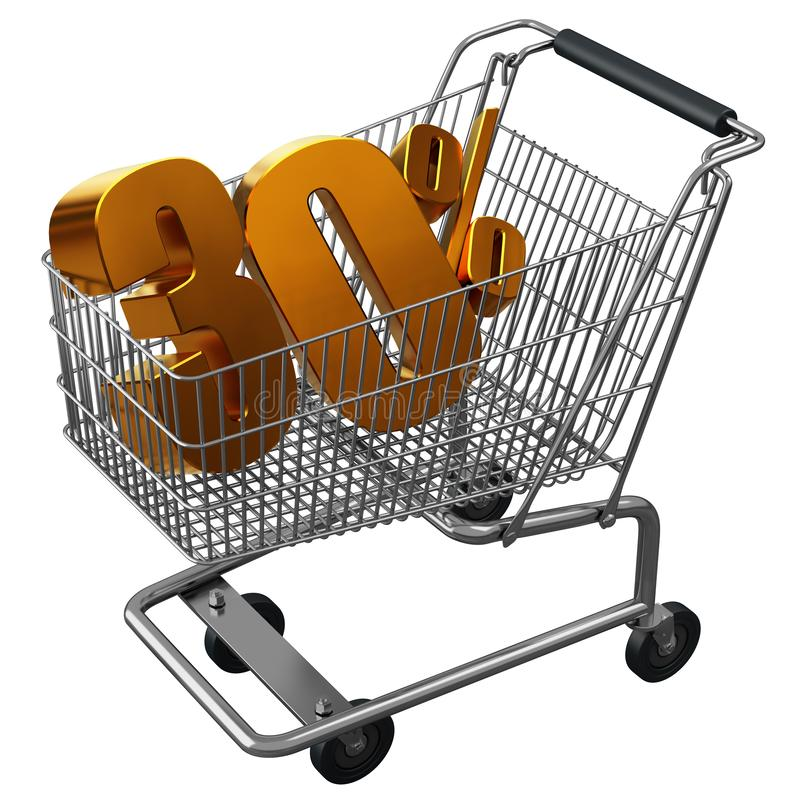 3D illustration of Shopping cart with 30 pocent discount in gold isolated vector illustration