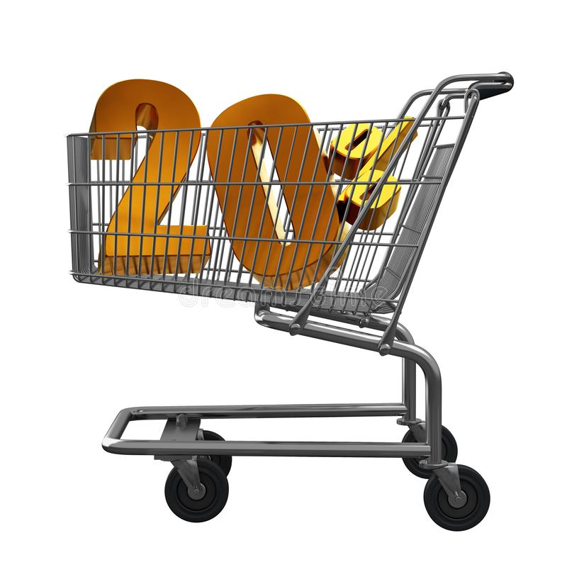 3D illustration of Shopping cart with 20 pocent discount in gold isolated vector illustration